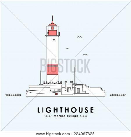 Vector illustration: lighthouse on light background. Line design