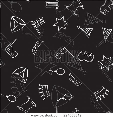 Seamless pattern with objects for the Jewish holiday Purim ball mask carnival, Patty, ratchet, Jewish star, a scroll, a crown and a fancy hat