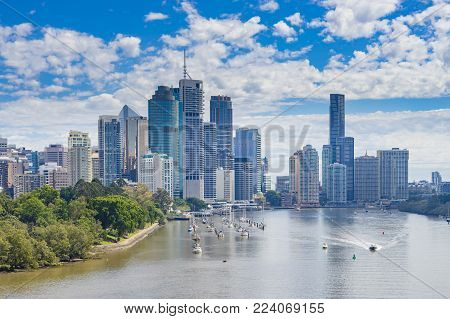 View of Brisbane CBD and Brisbane River in daytime poster