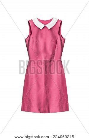 Basic pink mini dress with white cotton collar on white background