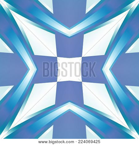 Blue abstract texture. Background illustration with a cross star. Textile print pattern. Cute seamless tile. Home decor fabric design sample. Tileable motif for pillows, cushions, tablecloths, drapes
