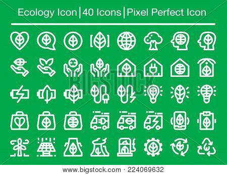 ecology and environment line icon set vector illustration