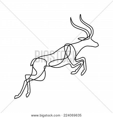 Endless line art illustration of antelope. Continuous black outline drawing on white background.