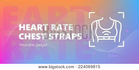 Vector illustration of heart rate chest straps wearable technology icon.