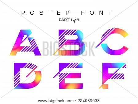 Vector Colorful Typeset. Blue, Pink, Purple Neon Colors. Liquid Bright Paint Effect. Urban Techno Ty