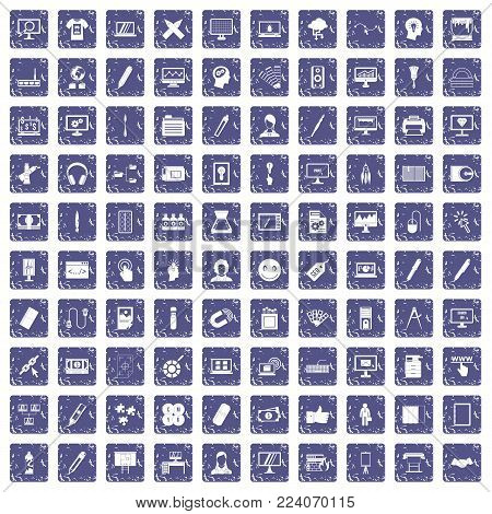 100 webdesign icons set in grunge style sapphire color isolated on white background vector illustration