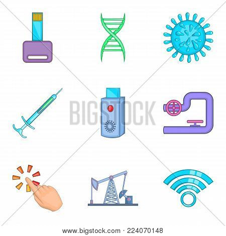 High manufacturability icons set. Cartoon set of 9 high manufacturability vector icons for web isolated on white background