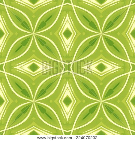 Green abstract texture. Background illustration with strong lines. Textile print pattern. Cute seamless tile. Home decor fabric design sample. Tileable motif for pillows, cushions, tablecloths, drapes