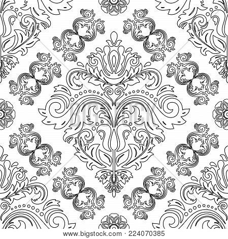 Orient vector classic pattern with black outline. Seamless abstract background with vintage elements. Orient background