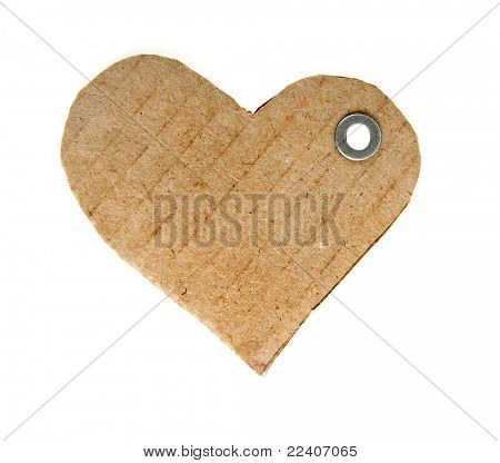 tag cardboard in the form of hearts isolated on white background