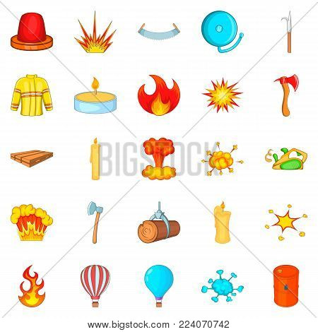 Firefighter icons set. Cartoon set of 25 firefighter vector icons for web isolated on white background