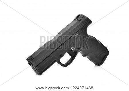 semi automatic 9 mm handgun pistol isolated on white background