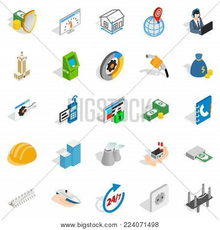 Trading house icons set. Isometric set of 25 trading house vector icons for web isolated on white background