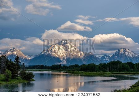Grand Teton Mountains from Oxbow Bend on the Snake River at morning. Grand Teton National Park, Wyoming, USA.