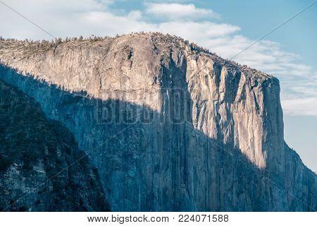 El Capitan rock formation close-up in Yosemite National Park. California, USA.