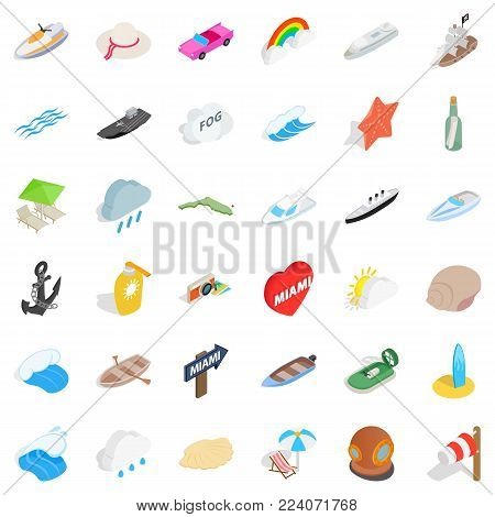 Water content icons set. Isometric set of 36 water content vector icons for web isolated on white background