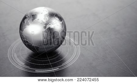 metallic World Globe on dark reflective surface. 3d illustration
