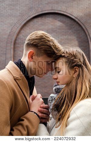 Couple sensual hug. True feelings tender moments. Heads together. Young love. Romantic date