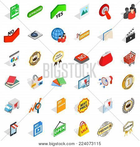 Commodity icons set. Isometric set of 36 commodity vector icons for web isolated on white background