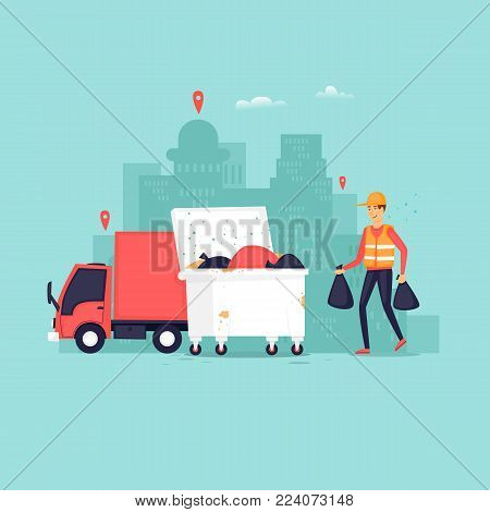 Garbage collection in the city, truck container with garbage scavenger. Flat vector illustration in cartoon style.
