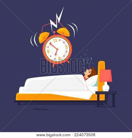 Alarm clock wakes the sleeping man. Flat design vector illustration.