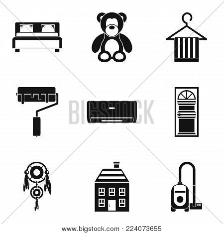 Dwelling icons set. Simple set of 9 dwelling vector icons for web isolated on white background