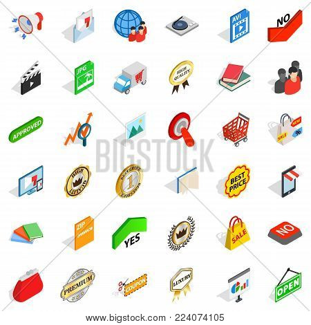 Barter trade icons set. Isometric set of 36 barter trade vector icons for web isolated on white background