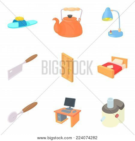 Home furnishings icons set. Cartoon set of 9 home furnishings vector icons for web isolated on white background