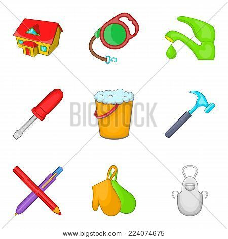 Home environment icons set. Cartoon set of 9 home environment vector icons for web isolated on white background