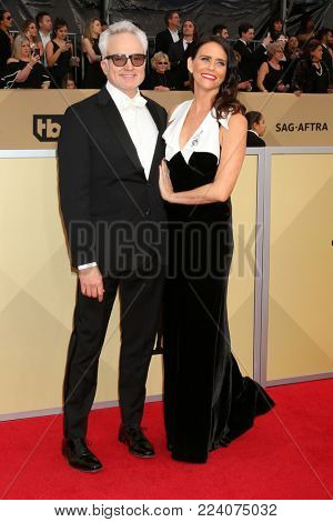 LOS ANGELES - JAN 21:  Bradley Whitford, Amy Landecker at the 24th Screen Actors Guild Awards - Press Room at Shrine Auditorium on January 21, 2018 in Los Angeles, CA