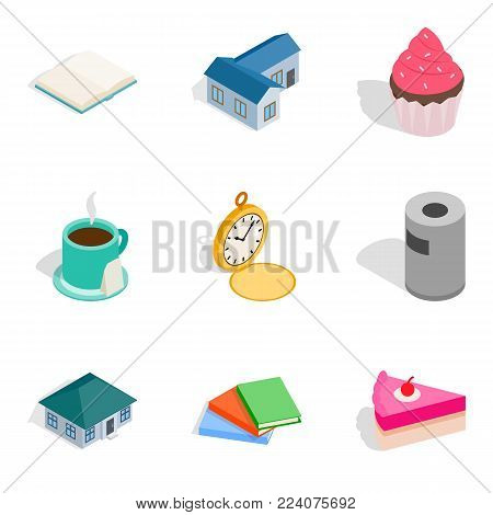 Home conditions icons set. Isometric set of 9 home conditions vector icons for web isolated on white background
