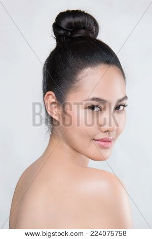 Beauty Woman Face Natural Make Up Skincare, Model black hair Isolated on White Background