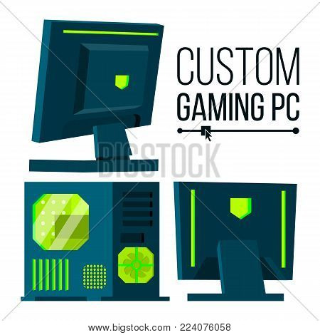 Custom Gaming PC Vector. Modern Custom Build Personal Computer. Hardline Liquid Beautiful Case Design. Isolated Illustration