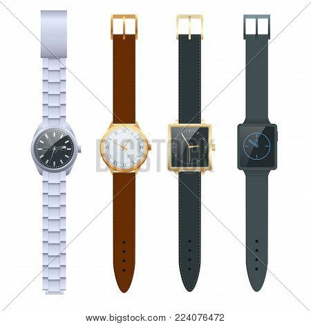Time on a wrist watch. Vector Set of men s watches. Classic watches isolated on white vector set