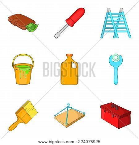 Home repair icons set. Cartoon set of 9 home repair vector icons for web isolated on white background