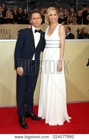 LOS ANGELES - JAN 21:  Sam Rockwell, Leslie Bibb at the 24th Screen Actors Guild Awards - Press Room at Shrine Auditorium on January 21, 2018 in Los Angeles, CA