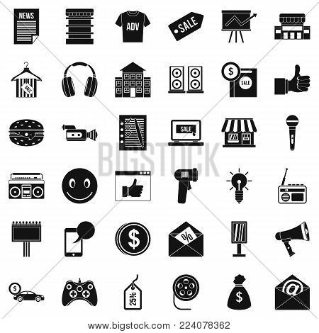 Merchandising icons set. Simple set of 36 merchandising vector icons for web isolated on white background poster
