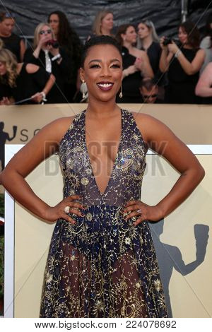 LOS ANGELES - JAN 21:  Samira Wiley at the 24th Screen Actors Guild Awards - Press Room at Shrine Auditorium on January 21, 2018 in Los Angeles, CA