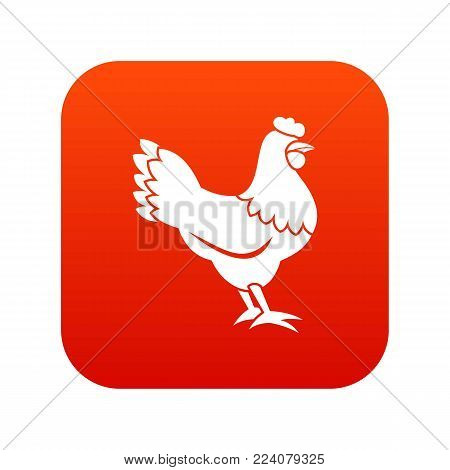 Hen icon digital red for any design isolated on white vector illustration