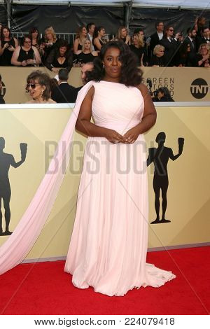 LOS ANGELES - JAN 21:  Uzo Aduba at the 24th Screen Actors Guild Awards - Press Room at Shrine Auditorium on January 21, 2018 in Los Angeles, CA