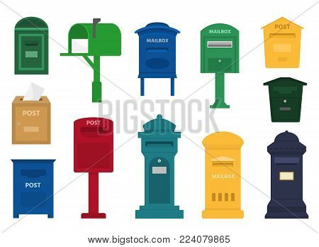 Mail box vector post mailbox or postal letterbox of American or European mailing and set of postboxes for delivery mailed letters to various countries illustration isolated on white background.