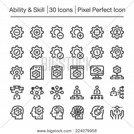 skill and ability line icon set vector illustration