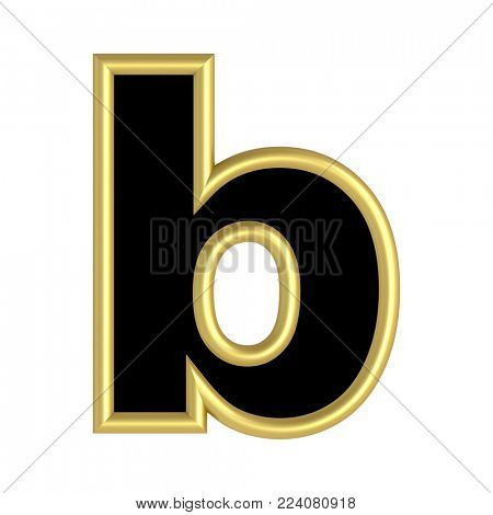 One lower case letter from black with gold shiny frame alphabet set, isolated on white. 3D illustration.