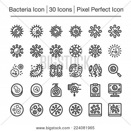 bacteria and virus line icon set vector illustration