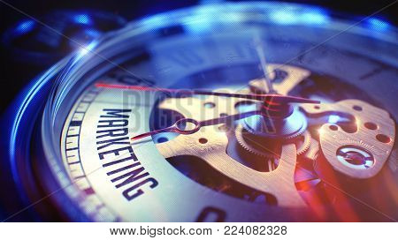 Watch Face with Marketing Inscription, Close Up View of Watch Mechanism. Business Concept. Film Effect. Marketing. on Watch Face with Close Up View of Watch Mechanism. Time Concept. Film Effect. 3D.
