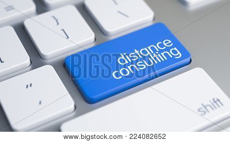 High Quality Render of a Modernized Keyboard Button. The Key is Blue in Color and there is Caption Distance Consulting on It. Closeup of Distance Consulting Keyboard Blue Button. 3D.