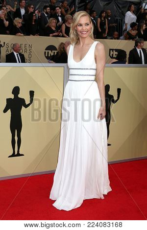 LOS ANGELES - JAN 21:  Leslie Bibb at the 24th Screen Actors Guild Awards - Press Room at Shrine Auditorium on January 21, 2018 in Los Angeles, CA