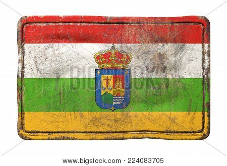 3d Rendering Of A La Rioja Flag Over A Rusty Metallic Plate. Isolated On White Background.