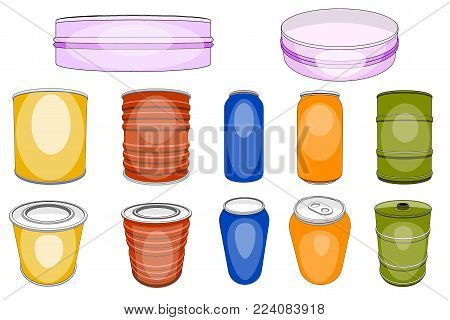Aluminum tin vector aluminium can for soda beverages or alcohol beer and empty metal bottle or aluminous container illustration set isolated on white background.