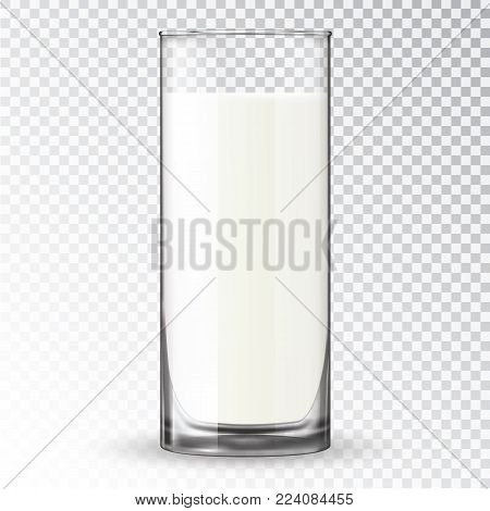 Milk in a glass. Dairy product in a clear glassful beaker. Transparent vector glass with milk. Breakfast, protein rich dairy product. Transparent photo realistic vector illustration